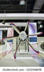 """ZHUKOVSKY, MOSCOW REGION, RUSSIA - AUG 27, 2019: Turboprop engine TV7-117ST-01 production company """"Klimov"""" at the International Aviation and Space salon MAKS-2019"""