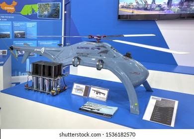 ZHUKOVSKY, MOSCOW REGION, RUSSIA - AUG 27, 2019: Chinese multifunctional UAV helicopter type Ziyan Blowfish A2 at the International Aviation and Space salon MAKS-2019