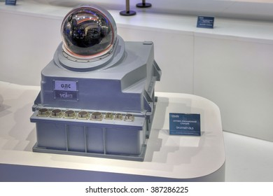 ZHUKOVSKY, MOSCOW REGION, RUSSIA - AUG 26, 2015: Stand holding Shvabe. Onboard optical-location station at the International Aviation and Space salon MAKS-2015