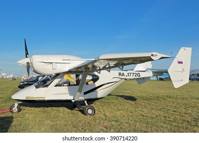 ZHUKOVSKY, MOSCOW REGION, RUSSIA - AUG 24, 2015: The Accord-201 is a Russian light multi-purpose aircraft produced by the NPO AVIA LTD at the International Aviation and Space salon MAKS-2015