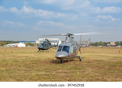 ZHUKOVSKY, MOSCOW REGION, RUSSIA - AUG 27, 2015: Italian Agusta A109S Grand helicopter warms the engine before the flight at the International Aviation and Space salon MAKS-2015
