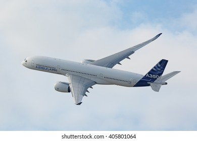 ZHUKOVSKY, MOSCOW REGION, RUSSIA - AUG 27, 2015: Airbus A350-900 is a long-range wide-body twin-engine passenger jet airliner at the International Aviation and Space salon MAKS-2015
