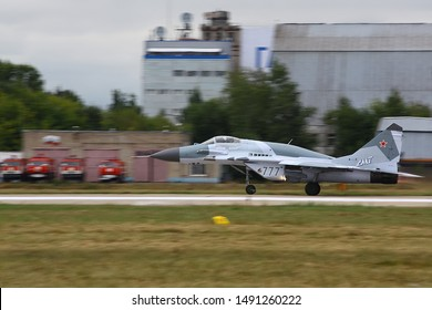 ZHUKOVSKY, MOSCOW REGION, RUSSIA - AUGUST 30, 2015: Mikoyan Gurevich MiG-34 747 BLUE jet fighter of russian air force perfoming demonstration flight in Zhukovsky during MAKS-2015 airshow.