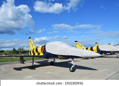 ZHUKOVSKY, MOSCOW REGION, RUSSIA - AUGUST 27, 2019: Baltic Bees Jet Team L-39 plane at International Aerospace Salon MAKS-2019 in Zhukovsky, Moscow region, Russia.