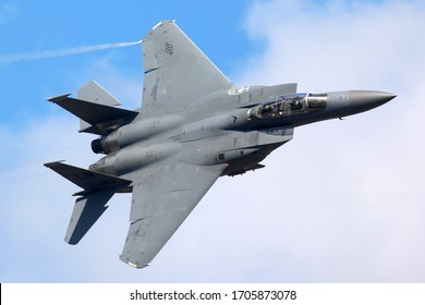 ZHUKOVSKY, MOSCOW REGION, RUSSIA - AUGUST 16, 2011: McDonnell Douglas F-15E Strike Eagle performing demonstration flight in Zhukovsky during MAKS-2011 airshow.