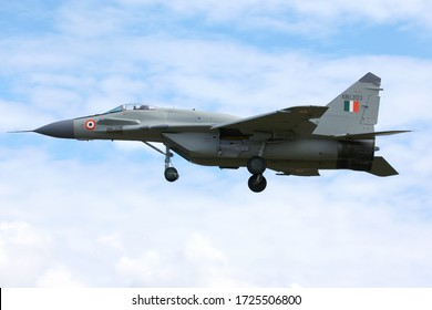 ZHUKOVSKY, MOSCOW REGION, RUSSIA - AUGUST 03, 2011: Mikoyan Gurevich MiG-29UPG KBU3123 upgraded jet fighter of Indian Air Force seen here during test flight at Ramenskoe airport.