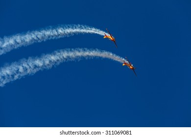ZHUKOVSKY, MOSCOW REGION, RUSSIA - AUGUST 29, 2015: Aerobatic Team 1Polet at WorldWide AirShow MAKS-2015 in Zhukovsky, Moscow region, Russia.