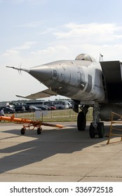 ZHUKOVSKY, MOSCOW REGION, RUSSIA - AUGUST 26, 2015: Airplanes shown at International Aerospace Salon MAKS-2015 in Zhukovsky, Moscow region, Russia.