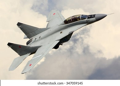 ZHUKOVSKY, MOSCOW REGION, RUSSIA - AUGUST 29, 2015: Mikoyan MiG-35 jet fighter shown at MAKS-2015 airshow in Zhukovsky.