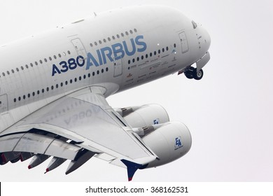 ZHUKOVSKY, MOSCOW REGION, RUSSIA - AUGUST 28, 2013: Airbus Industrie A380 F-WWDD modern civil airliner taking off for a demo flight in Zhukovsky during MAKS-2013 airshow.