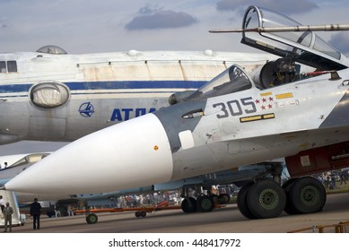 ZHUKOVSKY, MOSCOW REGION, RUSSIA - AUGUST 28, 2015: Airplanes shown at International Aerospace Salon MAKS-2015 in Zhukovsky, Moscow region, Russia.