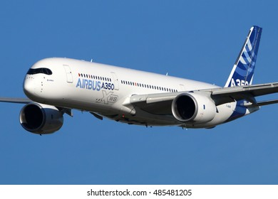 ZHUKOVSKY, MOSCOW REGION, RUSSIA - AUGUST 24, 2015: Airbus A350-941 F-WXWB manufactered by Airbus Industrie perfoming demonstration flight in Zhukovsky during MAKS-2015 airshow.