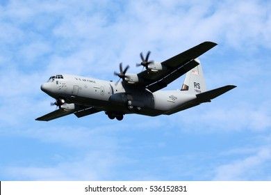 ZHUKOVSKY, MOSCOW REGION, RUSSIA - AUGUST 12, 2011: Lockheed Martin C-130J-30 Hercules (L-382) 07-8609 of United States Air Force landing at Zhukovsky during MAKS-2011 airshow.