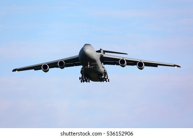 ZHUKOVSKY, MOSCOW REGION, RUSSIA - AUGUST 12, 2011: Lockheed C-5M Super Galaxy (L-500) 86-0013 of United States Air Force landing at Zhukovsky during MAKS-2011 airshow.