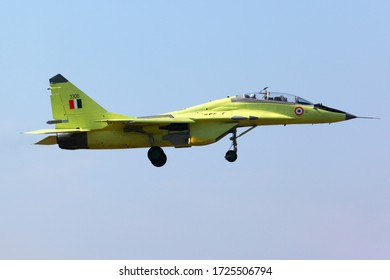 ZHUKOVSKY, MOSCOW REGION, RUSSIA - JULY 21, 2011: Mikoyan Gurevich MiG-29UPG-UB KBU3306 upgraded jet fighter of Indian Air Force seen here during test flight at Ramenskoe airport.