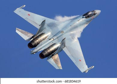ZHUKOVSKY, MOSCOW REGION, RUSSIA - JULY 20, 2017: Sukhoi Su-35S jet fighter of Russian Air Force performing demonstration flight during MAKS-2017 airshow at Zhukovsky - Ramenskoe airport.
