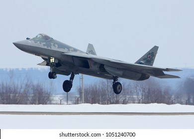 ZHUKOVSKY, MOSCOW REGION, RUSSIA - MARCH 3, 2018: Sukhoi Su-57 (T-50) RF-81775 new stealth jet fighter of russian air force (first plane in service with AF) landing at Zhukovsky airport,been to Syria.