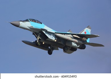 ZHUKOVSKY, MOSCOW REGION, RUSSIA - MARCH 15, 2017: Mikoyan Gurevich MiG-35 702 BLUE of Russian Air Force landing at Zhukovsky - Ramenskoe airport.