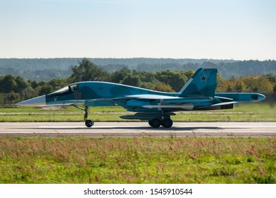 ZHUKOVSKY, MOSCOW REGION, RUSSIA - SEPTEMBER 1, 2019: A demonstration of a Sukhoi Su-34 fighter jet, bomber of the Russian Air Force at the MAKS 2019 airshow, Moscow.