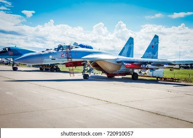 Zhukovsky, Russia 16 june 2017: military fighter jet aircraft parked in the airforce