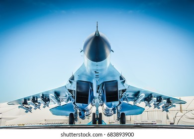 Zhukovsky, Russia 23 July 2017: Military background. MiG-35 fighter on MAKS 2017 airshow Moscow. MiG-35  fighter aircraft of Russian Air Force. Military fighter aircraft jet as army background concept