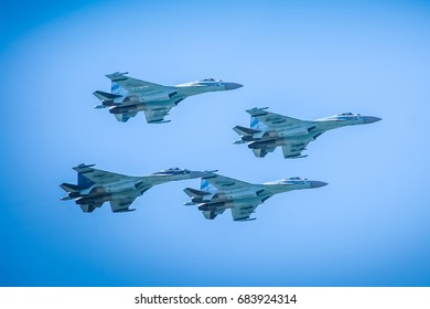 Zhukovsky, Russia 23 July 2017: Group of Sukhoi SU 35 on MAKS 2017 Russian army airshow. Sukhoi SU 35 - fighter aircrafts of the Russian Air Force.  Sukhoi SU 35 fourth-generation fighters.