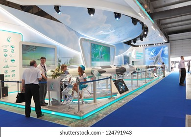 ZHUKOVSKY, RUSSIA - AUG 16: The stand of Vympel NPO is a Russian research and production company at the International Aviation and Space salon MAKS on Aug, 16, 2011 at Zhukovsky, Russia