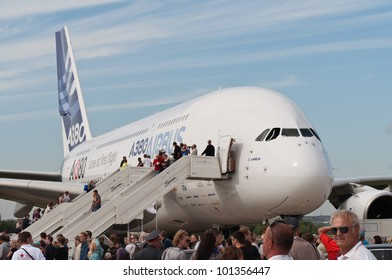 ZHUKOVSKY, RUSSIA - AUG 19: The Airbus A380 on display at International aviation and space salon MAKS 2011 on August 19, 2011 in Zhukovsky, Russia