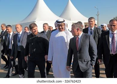 ZHUKOVSKY, RUSSIA - AUG 25, 2015: Head of Chechnya Ramzan Kadyrov, crown Prince of Abu Dhabi Mohammed al Nahyan and King of Jordan Abdullah II at the International Aviation and Space salon MAKS-2015