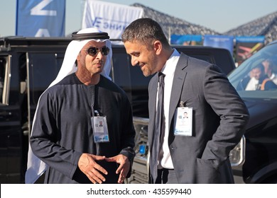 ZHUKOVSKY, RUSSIA - AUG 25, 2015: Sheikh Hazza bin Zayed Al Nahyan the United Arab Emirates Head of State for National Security Advisor at the International Aviation and Space salon MAKS-2015