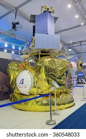 """ZHUKOVSKY, RUSSIA - AUG 29, 2015: Stand of NPO Lavochkin. Universal upper stage """"Fregat-SB"""" for use in some Soyuz and Zenit rockets at the International Aviation and Space salon MAKS-2015"""