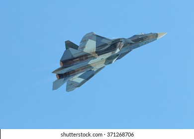 ZHUKOVSKY, RUSSIA - AUG 30, 2015: Sukhoi PAK FA T-50 (Prospective Airborne Complex of Frontline Aviation) fifth-generation jet fighter at the International Aviation and Space salon MAKS-2015