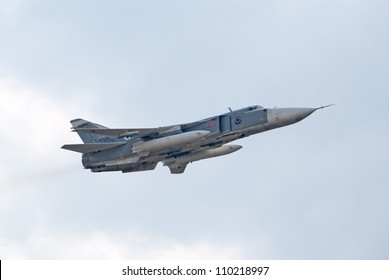 "ZHUKOVSKY, RUSSIA - AUGUST 12: Su-24 ""Fencer"" frontline bomber flies during the celebration of the centenary of Russian Air Force on August 12, 2012 in Zhukovsky, Russia"