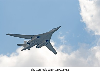 "ZHUKOVSKY, RUSSIA - AUGUST 12: Tu-160 ""Blackjack"" strategic bomber flies during the celebration of the centenary of Russian Air Force on August 12, 2012 in Zhukovsky, Russia"