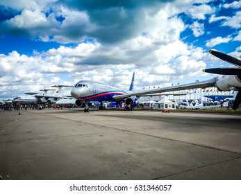 ZHUKOVSKY, RUSSIA - AUGUST 13, 2015: Aeroflot Sukhoi Superjet 100 RA-89007 at ZHUKOVSKY international airport. Sukhoi Civil Aircraft company Sukhoi Superjet 100 VIP SSJ twin engine business jet plane