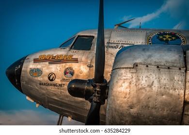 ZHUKOVSKY, RUSSIA - August 13, 2015: International Aviation and Space Salon. Douglas DC-3