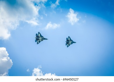 ZHUKOVSKY, RUSSIA - AUGUST 13, 2017: Group of Sukhoi Su 57 Russian fighters. Sukhoi Su 57 (PAK FA. T 50 ) is a stealth,military jet. Sukhoi Su 57 multirole fighter aircraft. Russian T 50 Sukhoi PAK FA