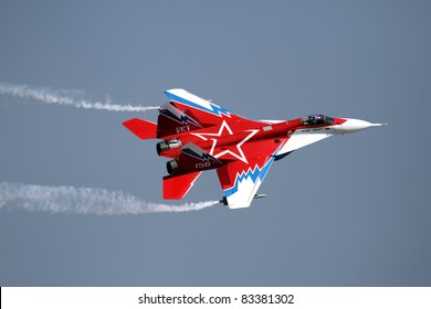 ZHUKOVSKY, RUSSIA - AUGUST 16: The MIG-29 performs at the International Aviation and Space salon MAKS on August, 16, 2011 in Zhukovsky, Russia.