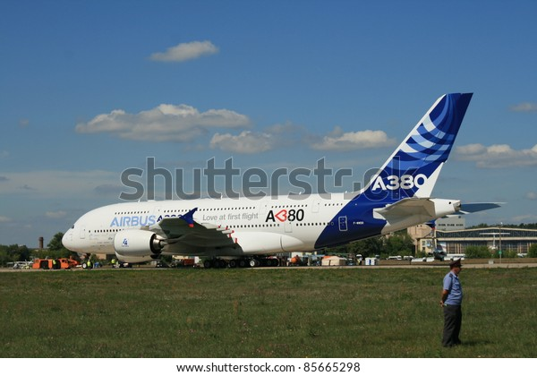 ZHUKOVSKY, RUSSIA - AUGUST 19: A new Airbus A-380 plane prepares to take off during the Moscow Aerospace Show (MAKS-2011) on August 19, 2011 in Zhukovsky, Russia. A-380 is the biggest jet in the world.
