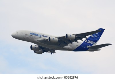 ZHUKOVSKY, RUSSIA - AUGUST 20: Airbus A380, the world's largest passenger airliner, flies during MAKS-2011 airshow on August 20, 2011 in Zhukovsky, Russia