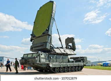 ZHUKOVSKY, RUSSIA - JULY 1: 9S19 Imbir sector surveillance radar vehicle from S-300V anti-air missile complex is displayed on the Forum ET-2012 on July 01, 2012 in Zhukovsky, Russia