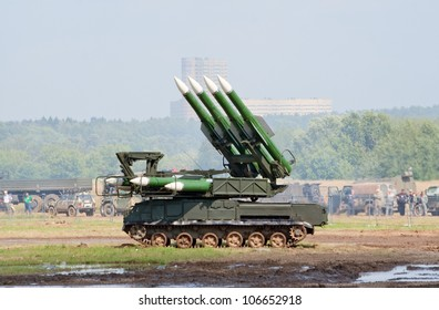 ZHUKOVSKY, RUSSIA - JULY 1: Buk-M mobile anti-air missile launcher is demonstrated in action on the Forum ET-2012 on July 01, 2012 in Zhukovsky, Russia