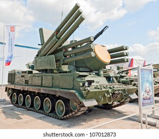 ZHUKOVSKY, RUSSIA - JULY 1: Pantsir-S1 anti-aircraft weapon system is displayed on the Forum ET-2012 on July 01, 2012 in Zhukovsky, Russia