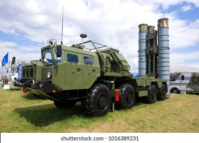 "ZHUKOVSKY, RUSSIA - JULY 20, 2017: The launcher of the Russian antiaircraft missile system S-400 ""Triumph"" on the MAKS-2017 air show"