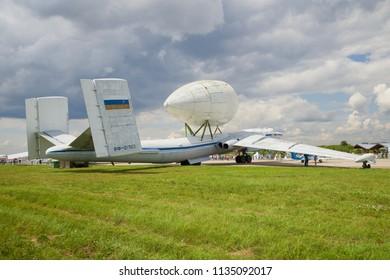 "ZHUKOVSKY, RUSSIA - JULY 20, 2017: VM-T ""Atlant"" - heavy transport aircraft Myasishchev OKB takes part in the MAKS-2017 air show"