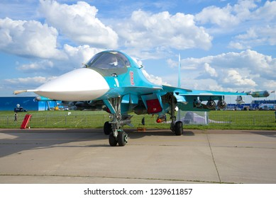ZHUKOVSKY, RUSSIA - JULY 20, 2017: The Russian multifunctional fighter-bomber Su-34 takes part in the MAKS-2017 air show