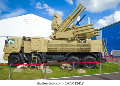ZHUKOVSKY, RUSSIA - JULY 20, 2017: Russian self-propelled anti-aircraft missile and cannon system  Pantsir-S1 based on the KAMAZ-6560 truck. Exhibit MAKS-2017