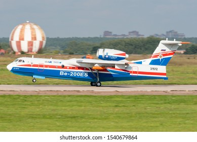 ZHUKOVSKY, RUSSIA - SEPTEMBER 01, 2019: Demonstration of the Beriev Be-200 multipurpose amphibious aircraft designed by the Beriev Aircraft Company and manufactured by Irkut at the Maks 2019 airshow.