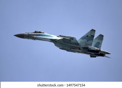 ZHUKOVSKY - SEPTEMBER 01, 2019: New Russian figher SU-35 shows demonstration flight at MAKS 2019.