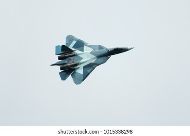 ZHUKOVSKY/RUSSIA, JULY 21, 2017; MAKS-2017 AIRSHOW; Sukhoi Su-57 Firedrake during the demonstration flight.